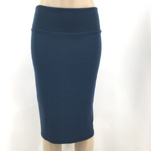 LULAROE Cassie Skirt M Blue Slate Stretch Pencil